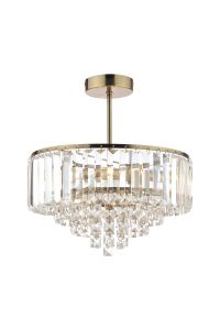 Laura Ashley Vienna 3 Light Semi Flush Ceiling Light In Antique Brass With Crystal Glass