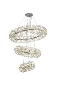 Fusion Extra Large 3 Tier Crystal Ceiling Pendant in Polished Chrome