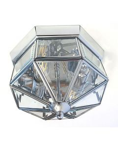 Traditional Flush Ceiling Light In Chrome With Bevelled Glass