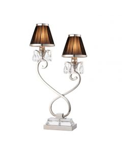 Interiors 1900 63524 Oksana Nickel Twin Table Lamp In Nickel With Black Shades