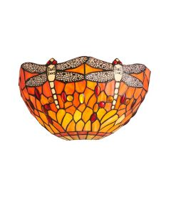 Interiors 1900 64103 Dragonfly Flame Tiffany 1 Light Wall Light In Bronze With Shade