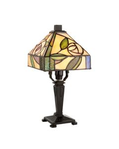 Interiors 1900 64388 Willow Tiffany 1 Light Mini Table Lamp With Mackintosh Rose Style