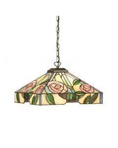 INTERIORS 1900 64385 Willow Tiffany Medium Ceiling Pendant Light With Mackintosh Rose Style