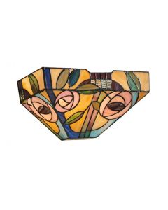 Interiors 1900 64389 Willow Tiffany 1 Light Wall Light With Mackintosh Style Rose In Subtle Colours