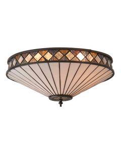 INTERIORS 1900 64145 Fargo Tiffany 2 Light Flush Ceiling Light