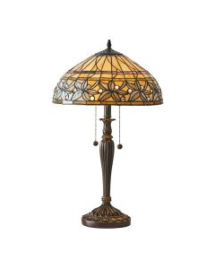 Interiors 1900 63916 Ashstead Tiffany 2 Light Medium Table Lamp In Bronze With Shade - Height: 580mm