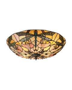 Interiors 1900 63922 Ashton Tiffany Large 2 Light Flush Ceiling Light In Bronze