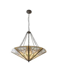 Interiors 1900 64053 Dauphine Tiffany Mega Panel 8 Light Inverted Ceiling Pendant In Bronze