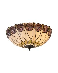Interiors 1900 64173 Hutchinson Tiffany 2 Light Flush Ceiling Light In Dark Bronze