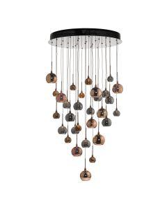 Dar AUR3364 Aurelia 30 Light Cluster Ceiling Light In Black Chrome And Multi Coloured Shades