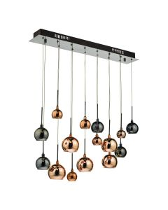 DAR AUR6264 Aurelia15 Light Ceiling Bar Pendant Light In Black Chrome And Multi-Colour