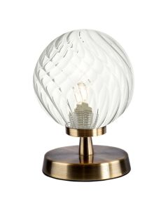 Dar Lighting ESB4175-03 Esben Touch Table Lamp Antique Brass With Twisted Glass