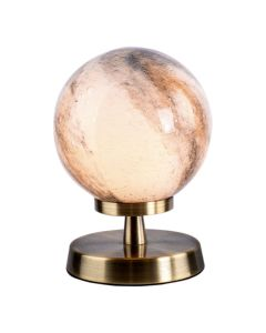 Dar Lighting ESB4175-07 Esben Touch Table Lamp In Antique Brass With Planet Glass