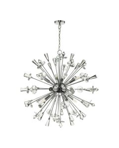 Dar Lighting EXO0850 Exodus 8 Light Ceiling Chandelier In Polished Chrome With Crystal