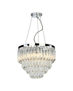 Dar Lighting FAM0538 Fame 5 Light Ceiling Pendant In Polished Chrome With Glass