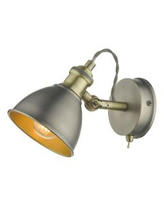 Dar Lighting GOV0761 Governor Single Spotlight In Antique Chrome And Antique Brass