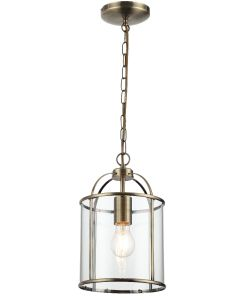 Traditional 1 Light Antique Brass Circular Hanging Hall Ceiling Lantern Light with Glass Panels