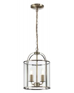 Traditional 2 Light Antique Brass Circular Hanging Hall Ceiling Lantern Light with Glass Panels