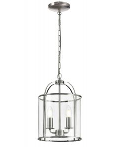 Traditional 2 Light Satin Nickel Circular Hanging Hall Ceiling Lantern Light with Glass Panels