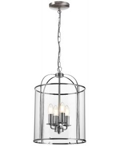 Traditional 4 Light Circular Satin Nickel Hanging Hall Ceiling Lantern Light with Glass Panels