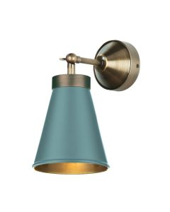 David Hunt Lighting HYDE Single Wall Light In Antique Brass And  River Blue Finish