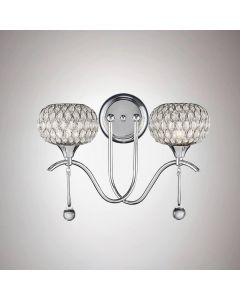Diyas IL31501 Chelsie 2 Light Wall Light In Polished Chrome