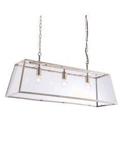 3 Light Linear Ceiling Lantern Pendant In Bright Nickel Plate And Clear Glass