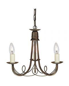 Elstead MN3 BLK/GLD Minster 3 Light Ceiling Chandelier  In Black/Gold - Fitting Only