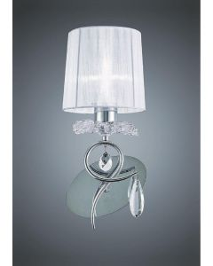 Mantra M5277 Louise 1 Light Wall Light In Chrome With White Shade