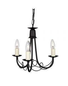 Elstead MN3 BLACK Minster 3 Light Ceiling Chandelier In Black - Fitting Only