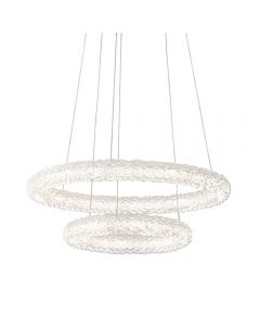 2 Ring Ceiling Pendant Light In Chrome Plate And Clear Crystal Glass