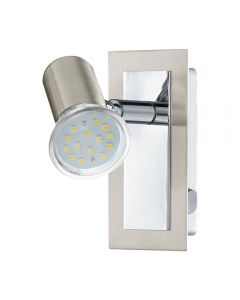 Eglo 90914 Rottelo 1 Light Wall Spotlight In Satin Nickel And Chrome