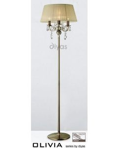 IL30066CR Olivia 3 Light Antique Brass Floor Lamp with Ivory Shade