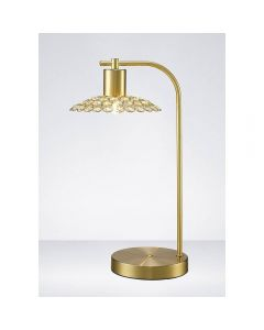 Diyas IL20603 Ellen 1 Light Table Lamp In Satin Brass And Clear Crystal