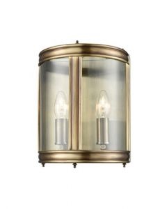 W601 Half Lantern Wall Light In Bronze With Clear Glass