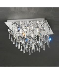 C5722 Square 6 Light Crystal Bathroom Flush Ceiling Light
