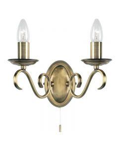 Endon 2030-2AN 2 Light Wall Light In Antique Brass