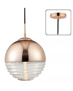 Endon 68956 Paloma 1 Light Ceiling Pendant In Copper And Clear Ribbed Glass