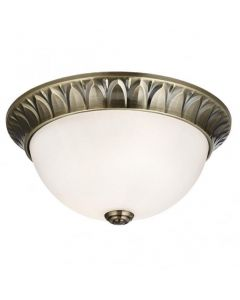 Searchlight 4148-28AB 2 Light Flush Ceiling Light In Antique Brass With Frosted Glass - Dia: 280mm