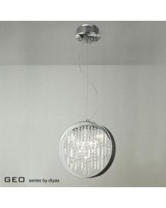 IL30233 9 Light Chrome And Crystal Ceiling Pendant Lamp