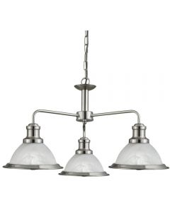 Searchlight 1593-3SS Bistro 3 Light Ceiling Pendant Light Silver
