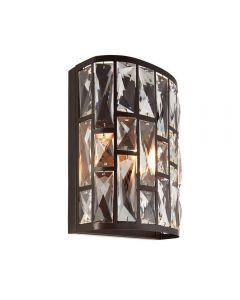 1 Light Wall Light In Dark Bronze And Clear Crystal Glass
