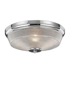 C5771 Flush Ceiling Light In Chrome With Textured Glass - Small: Dia - 340mm
