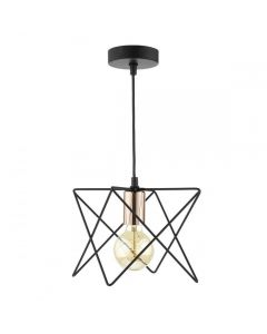 Dar MID0122 MIDI Pendant In Matt Black With Wire Square Copper Detail
