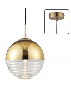 Endon 68958 Paloma 1 Light Ceiling Pendant In Gold Effect And Clear Ribbed Glass