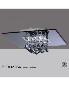 IL31006 Starda 8 Light Square Flush Smoked Crystal Light