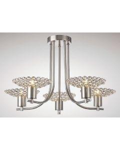 Diyas IL20607 Ellen 5 Light Semi Flush Ceiling Light In Satin Nickel And Clear Crystal