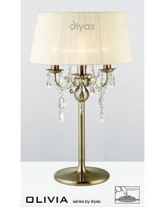 IL30065CR Olivia Antique Brass3 Light Table Lamp with Ivory Cream Shade
