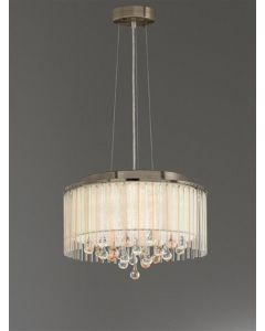 F2346/6 6 Light Ceiling Pendant Light In Bronze With Crystal Drops