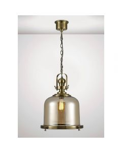 Diyas IL31595 Riley 1 Light Large Bell Pendant In Antique Brass - Dia: 430mm